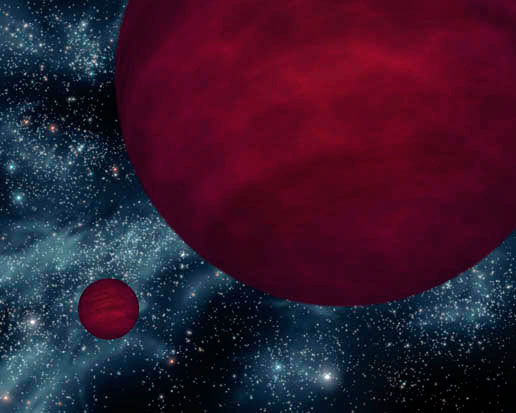 This artist's concept shows the dimmest star-like bodies currently known