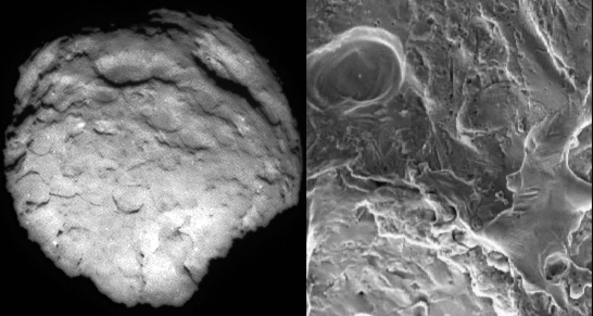 Comet Wild 2 compared to electrically machined surface